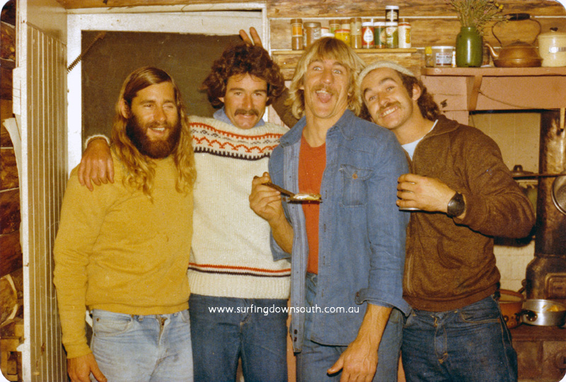 1970s Capel party Steve 'Hornie' Campbell, Peter Mac, George Simpson & Glen Lance  - P Mac pic