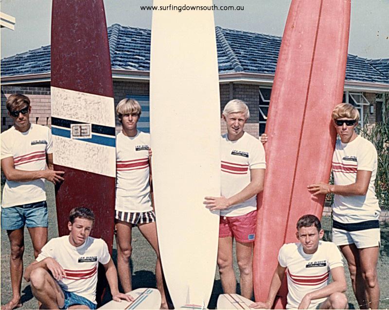 1965 Dibben surf team Alfred Cove.  back- Arty Sherburn, Jeff Jowlett, Len Laskewicz, Peter Stephens, front-Dave Richards & Ron  Robinson - Len Dibben pic 02