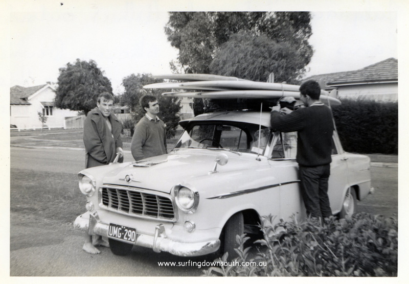 1964 Down south surf trip Ian Barsden, Bruce Brown & Peter Meyer with Brownies FC Holden - Arthur Sherburn pic img179