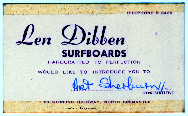1967 Len Dibben Surfboards business card for Arty Sherburn - Arty Sherburn pic img193