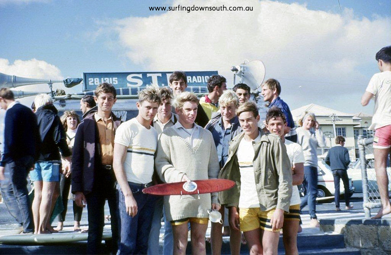 1965 WA Schoolboy Championships Christchurch surf team T Mathews,C Brent-white, G Leyland, M Bibby, H Heatley, P Hayes & A Jones. M Smith-Mike Bibby pic