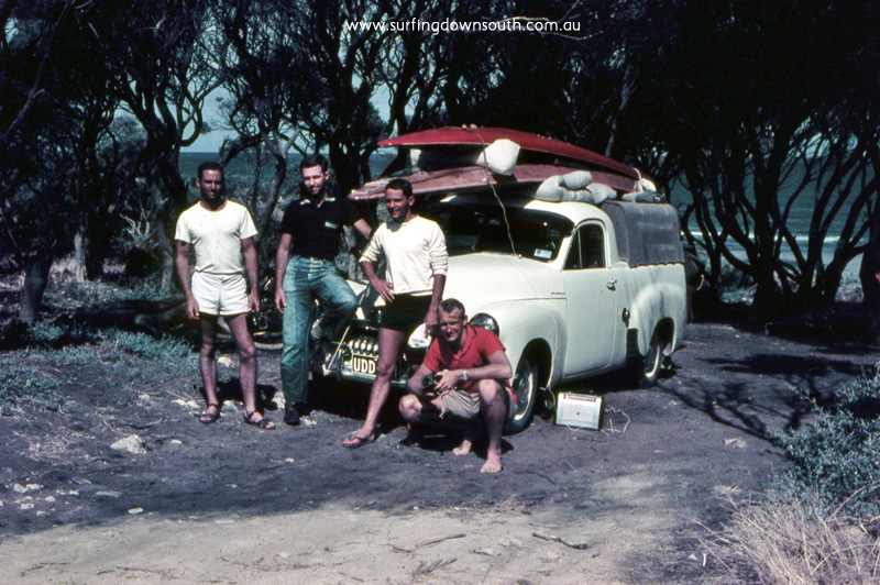 1956-57 Yalls Mark Whittome, Brian Bradley, RodPhillips & Jim Cavender with FJ ute & hollow wood boards - John Budge pic img571