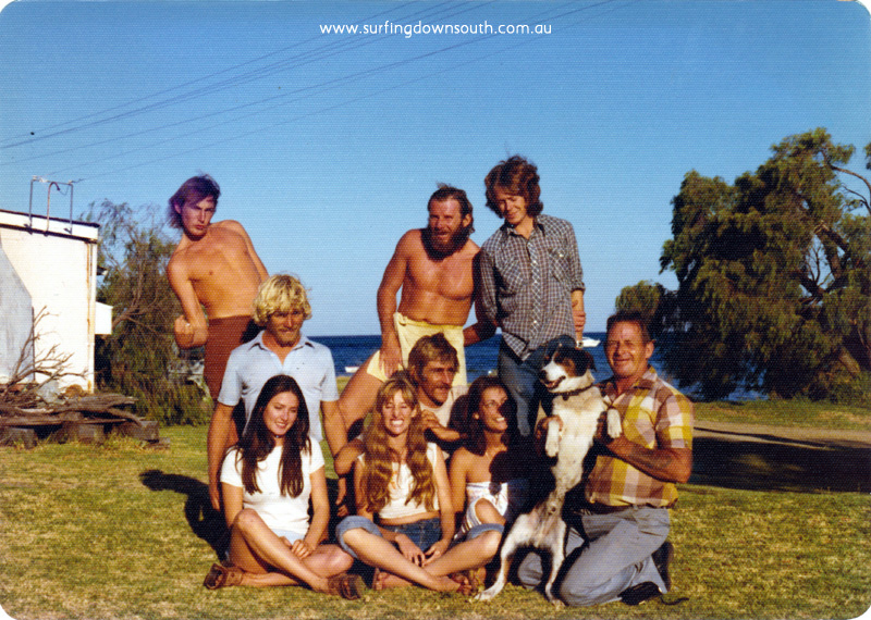 1975 Dunsborough L-R Graham Worsley, Grem, Horace, Haydn, Grems dog Horse, Jill, Ning, Suzy Ware, Grems dad Ernie - P Mac pic