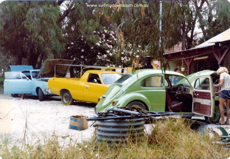1975 Dunsborough spray job Blue unknown, Yellow George's ute & Green VW Rick Lobe  - P Mac pic