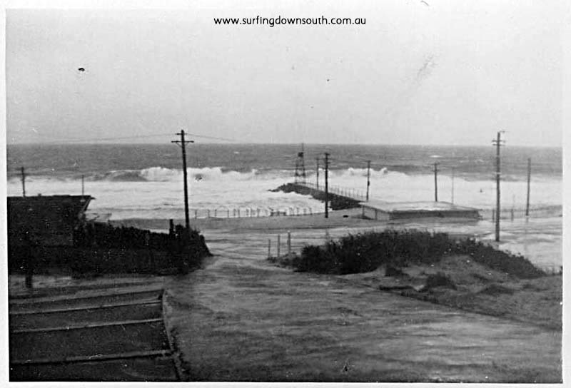 1953 City Beach groyne storm surf B Cole pic
