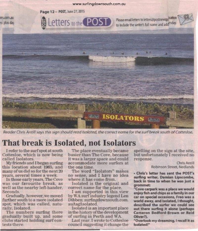 Isolated surf break Post News 27 June 2015
