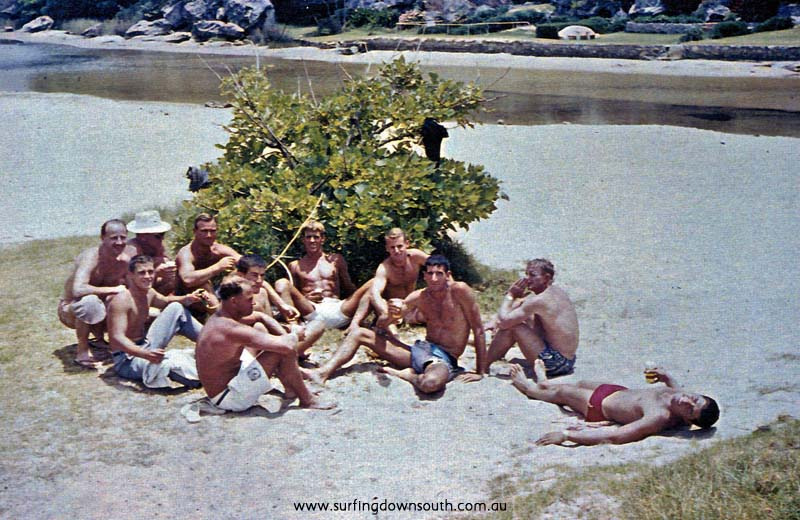 1961 NSW Queenscliff Xmas Day keg Bernie Huddle, Bob Pike, Joe Larkins & others - B Cole pic img686