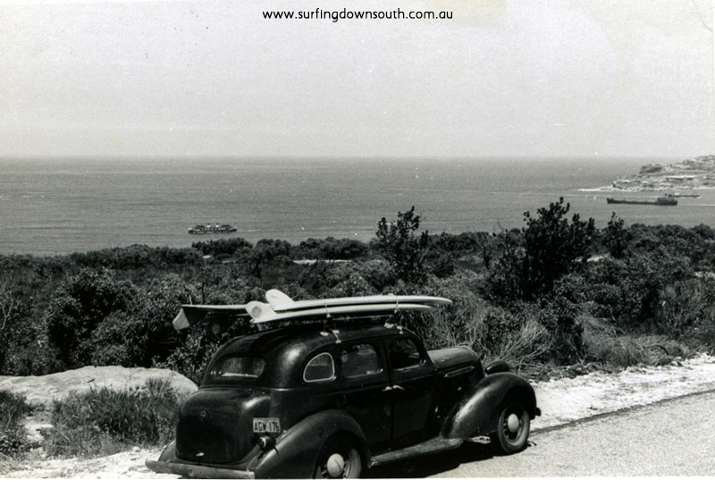 1963 NSW Brian Cole & mates heading towards Sydney harbour surf break in 1934 Studybaker - B Cole pic img690