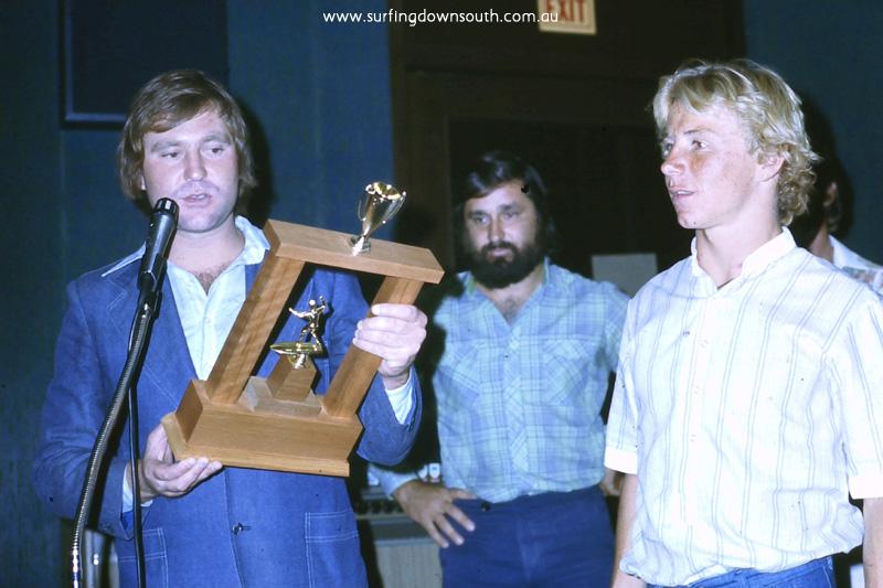 1978 WASRA Surfing Awards P Dyson, Ken Trainer & M McAuliffe - Ric Chan 025