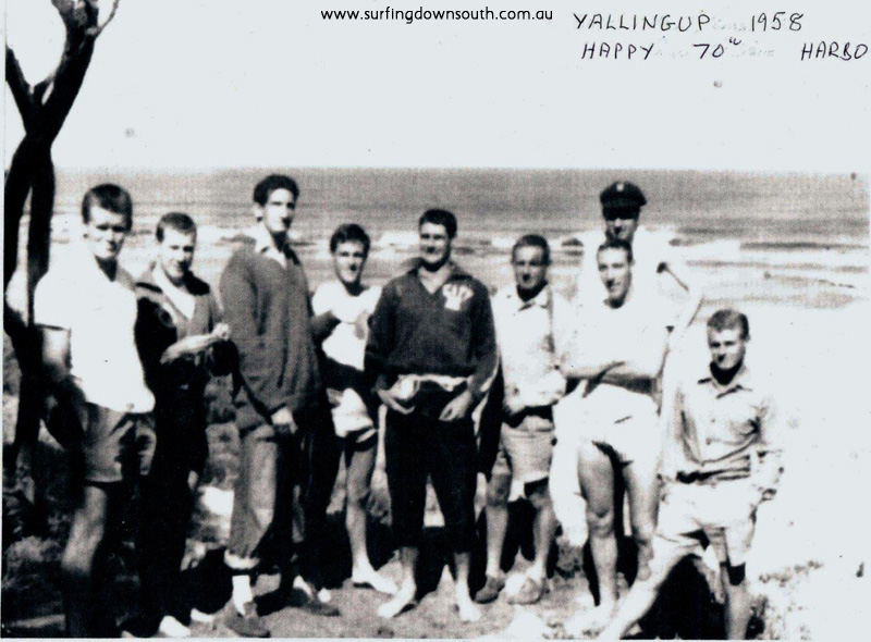 1958 Yalls beach D Williams, J Keenan, B Huddle, A Taylor, T Harbison, B Hill, K Merifield, R Evans & G Killen - unknown photographer1 IMG