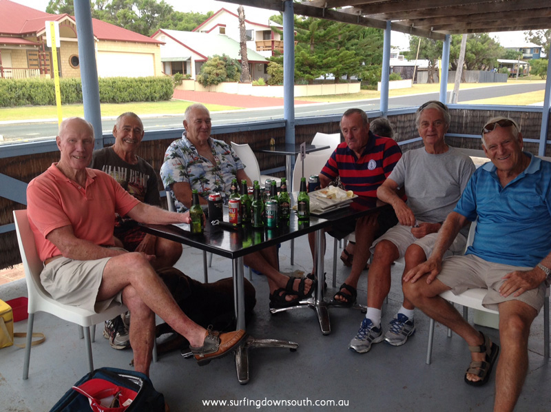 'mouth surfers at Miami' at Cafe Falcon, Mandurah L-R Jim Keenan, Tony Harbison, Dan Darragan (real name John Roberts), Laurie Burke, Bill Pratley, Ray Geary.
