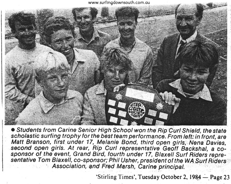 1984 Carine SHS surfing award - Stirling Times