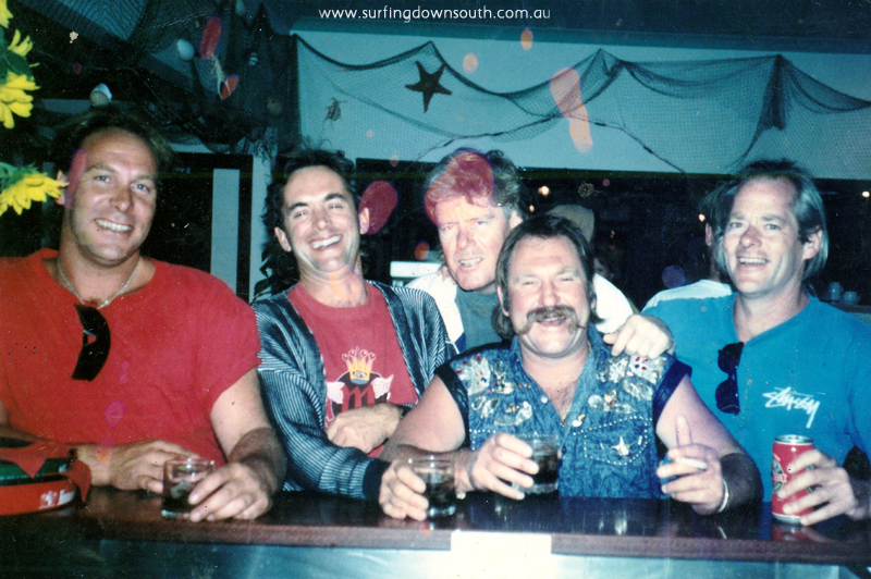 1990s Yalls Surfside L-R Peter Clauson, Peter Kidd, Peter Shearer, Peter Dyson & Peter Davies - Neil Anderson pic IMG_03