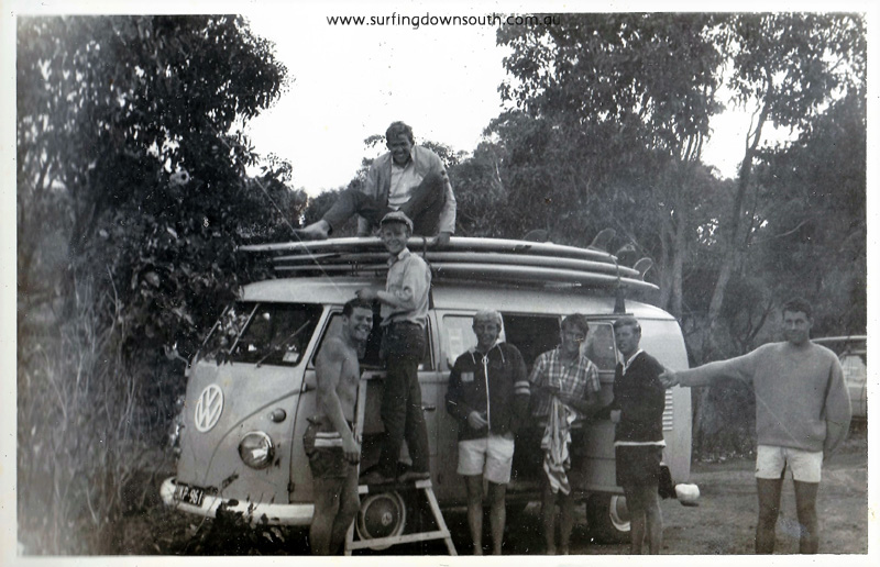 mid 60s Rocky Pt John Burridge, Peter Dyson, Kevin Ager, Mick Maddren, John Balgarnie. Roo Dog, Ned F on roof. PD pic IMG_23