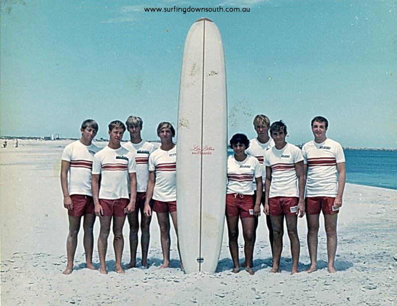 1965 Len Dibben surf team Leighton Beach L-R Rod Slater,Dave Richards,Jeff Jowlett,Steve Farbus,Teena Christon,Peter Stephens,Art Sherburn,Doug White-Len Dibben pic 01