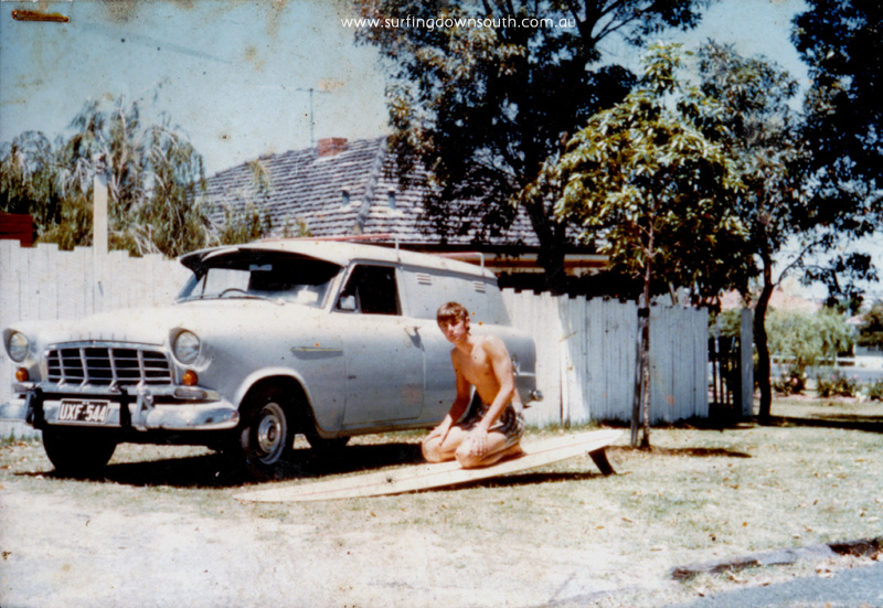 1967 Melville Gary Greirson age 17 FC Holden & 11ft Hawke Surfboard GG IMG