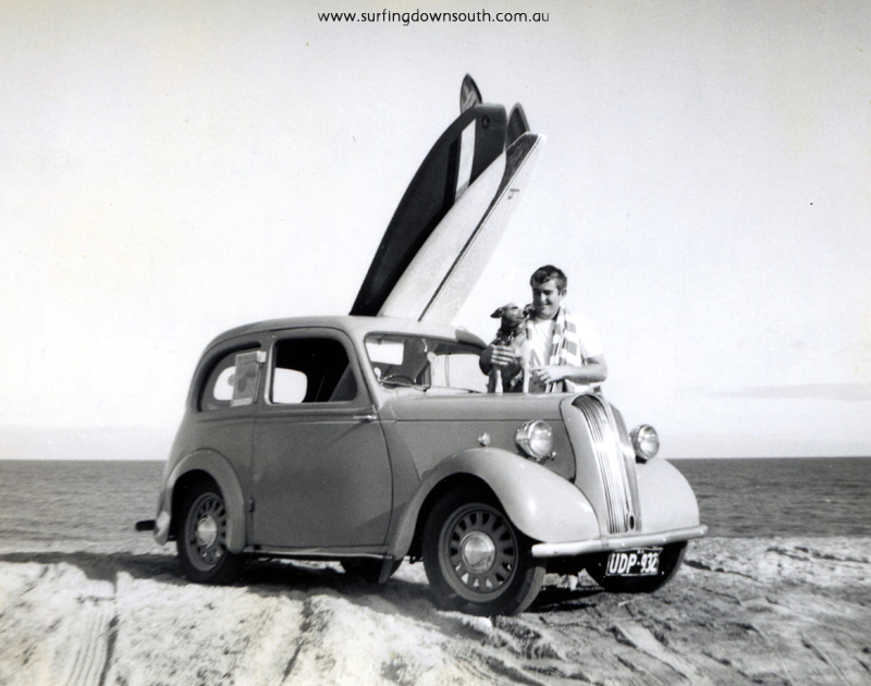 1964-cottesloe-the-cove-joe-wilson-smokey-the-dog-with-joes-woody-morris-or-austin-sedan-as-pic-img182