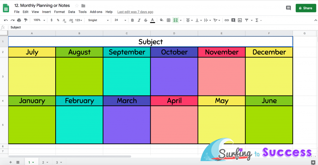 Google Sheet Montly Planninng