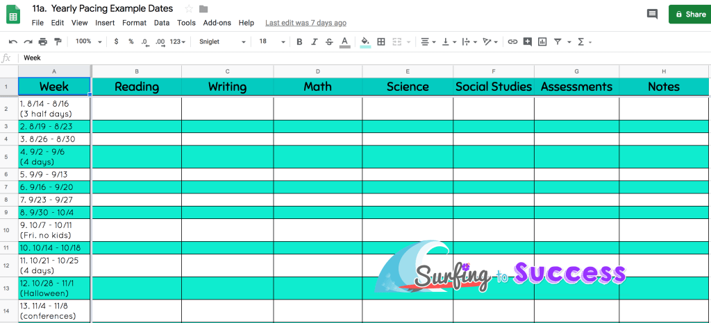 Google Sheet yearly pacing for teachers