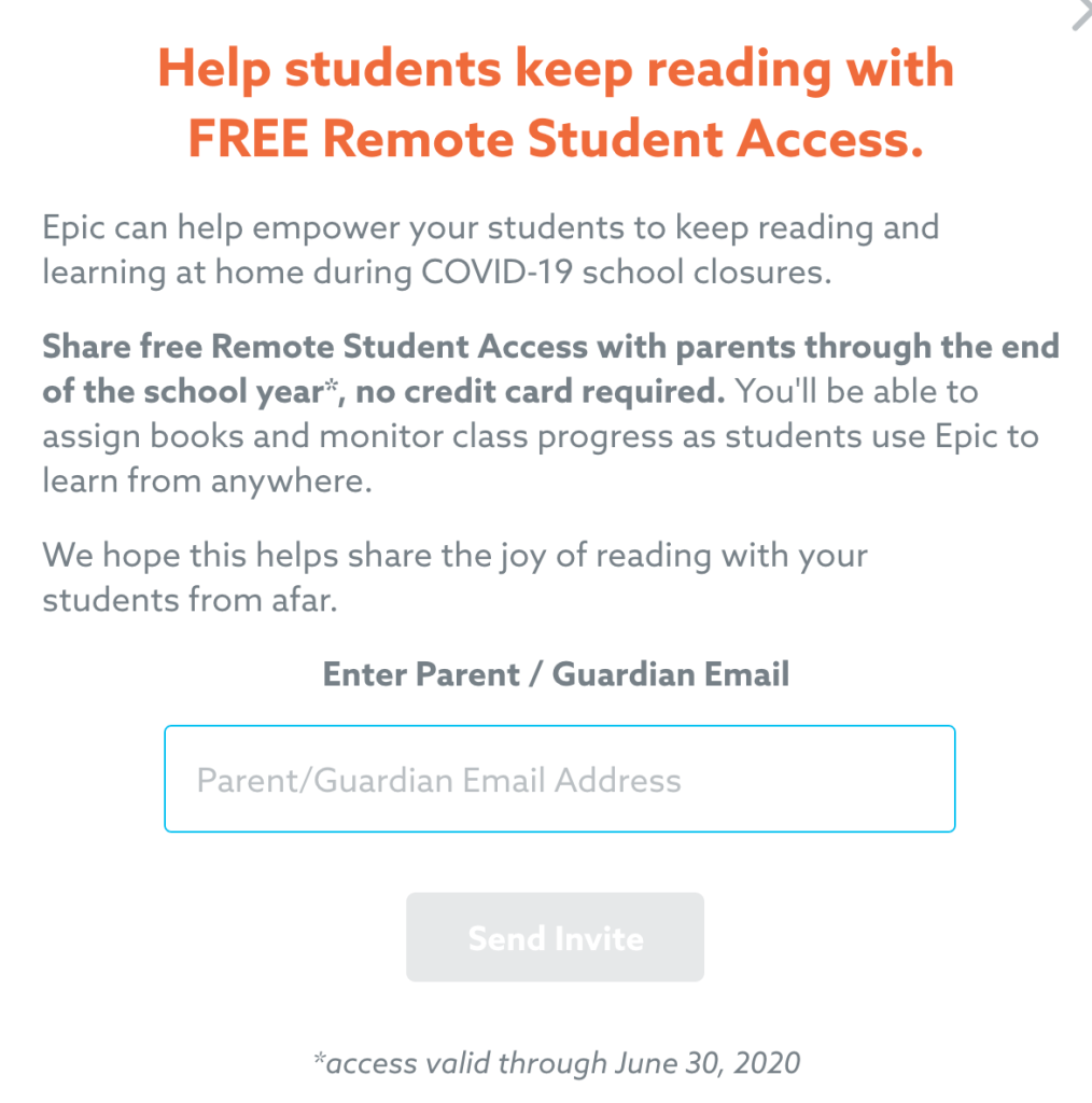 Students can get Epic for free during COVID-19 school closures to read at home.