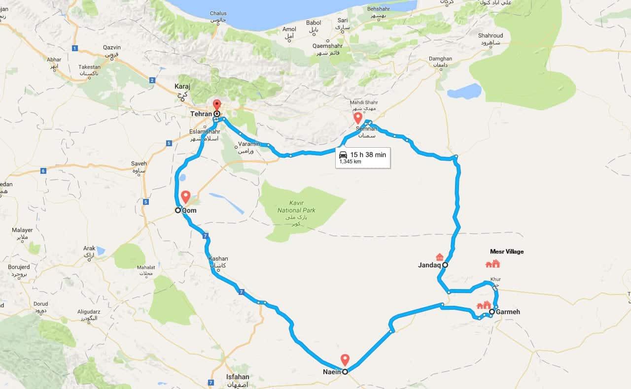 Iran Desert Tour Map for Overnight Desert Safari in Central Desert of Iran