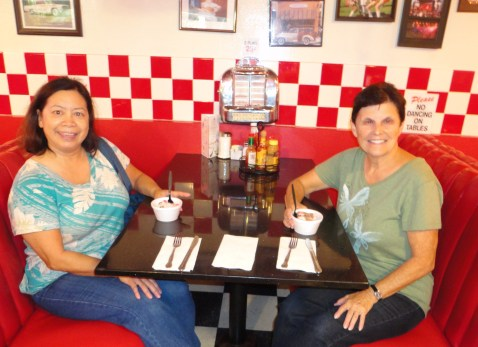 Sunny and Patti in diner