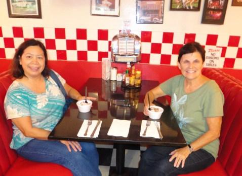 Sunny and Patti in diner