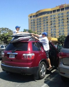 crowne plaza parking lot with boards