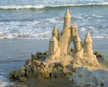 sandcastle by tide