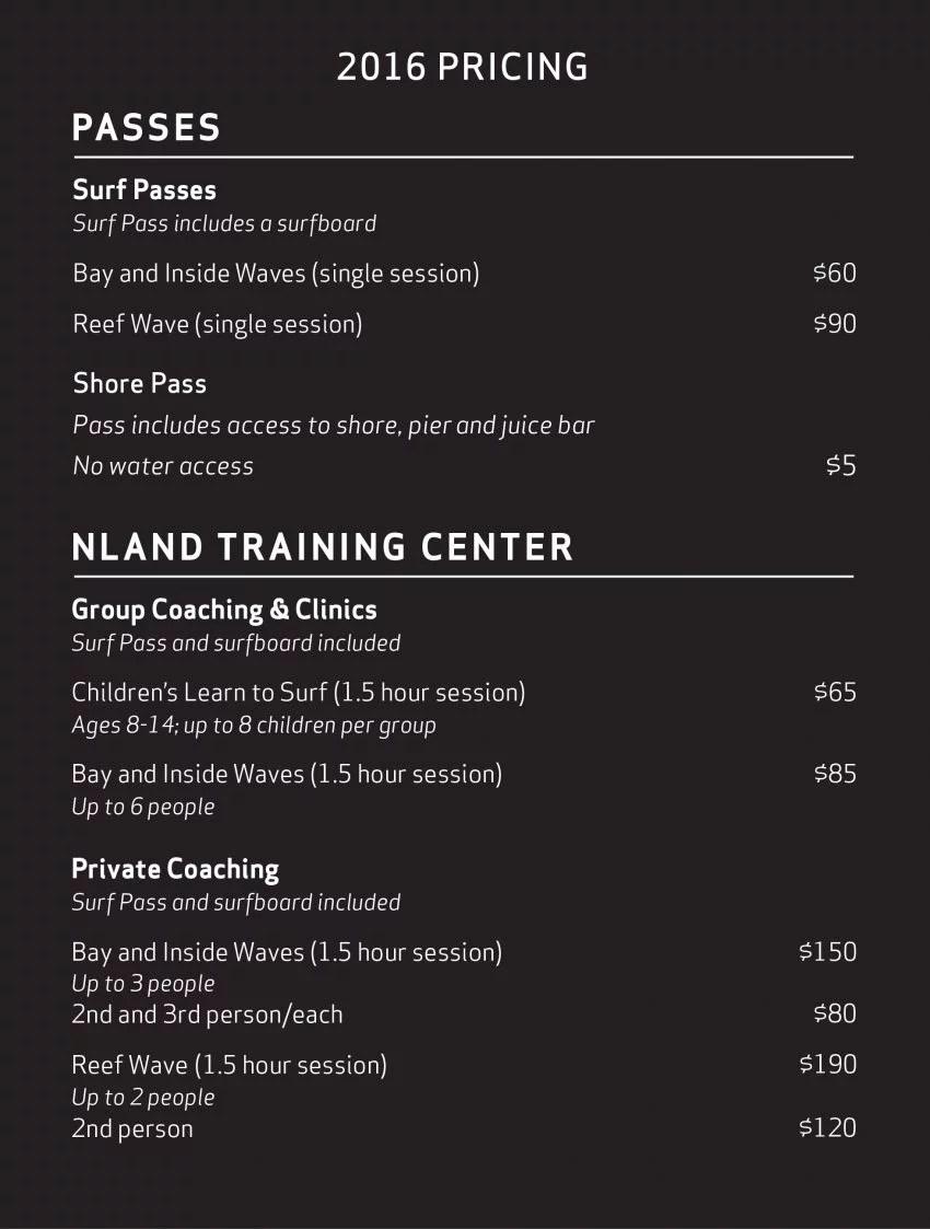 NLand Surf Park Price Chart October 2016 | Surf Park Central