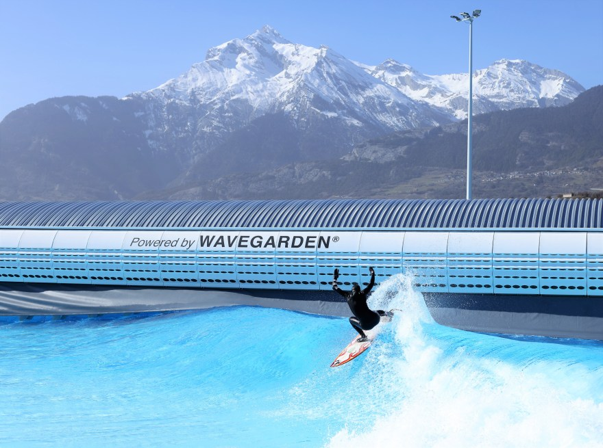Surfing under Swiss Alps