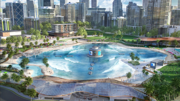 Artist impression of Surf Lakes new model designed for reduced-size land areas