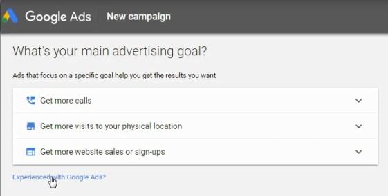 Fai clic su Esperienza con Google Ads