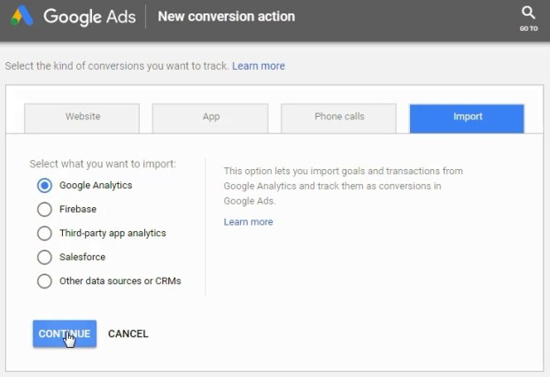 Importa da Google Analytics