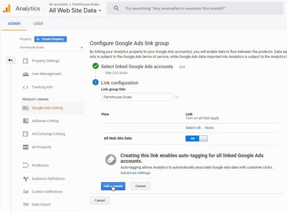 completamento degli account collegati a Google Analytics