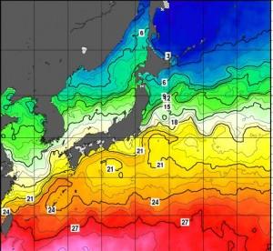 台風6号ノウルの進路と海水温度