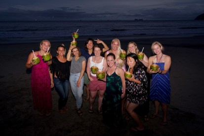 cocos on the beach, surf with amigas, women, group travel, surf retreat, yoga, surf camp, learn to surf