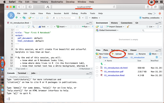 """Rstudio Server is almost identical to RStudio Desktop. Main difference is the """"Upload"""" button in the Files pane. This one is running in a Docker container, served at port 8787, and accessed using Safari (but any web browser will work)."""