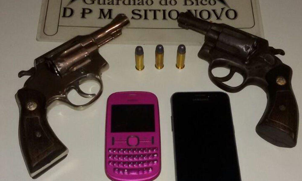 Polícia Militar apreende duas armas de fogo com suspeito de roubo em Sítio Novo