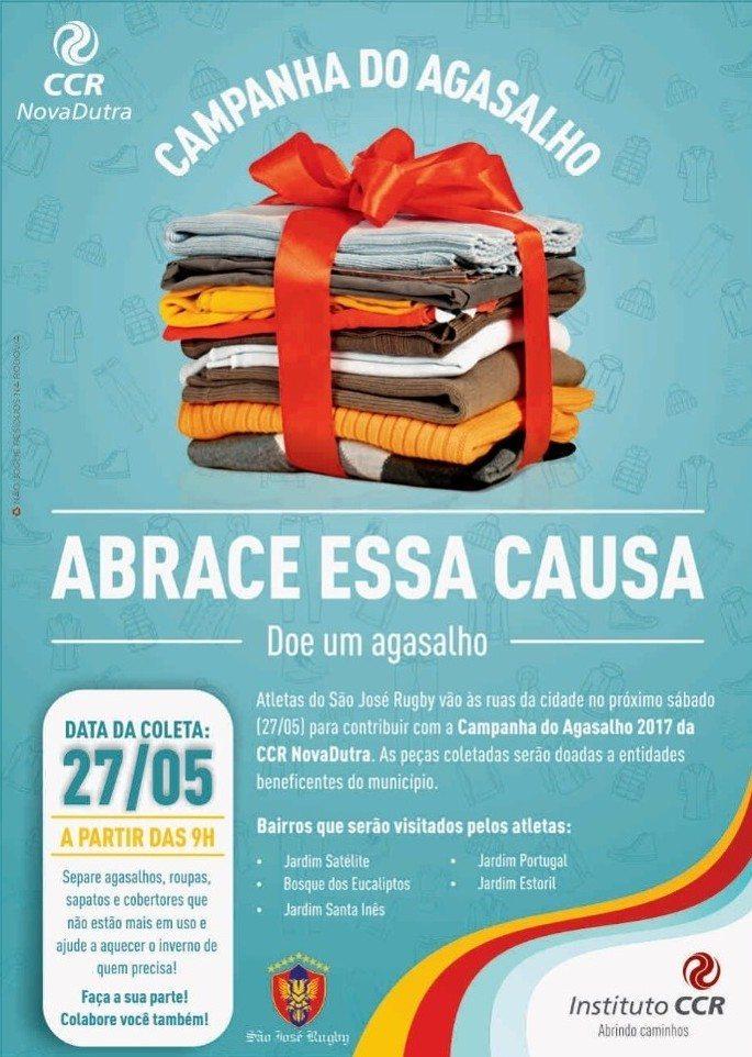 São José Rugby realiza ação para a Campanha do Agasalho em bairros da cidade, no dia 27/05