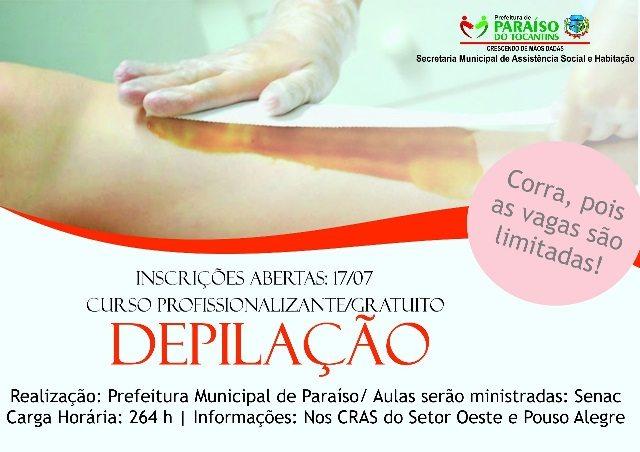 Prefeitura de Paraíso do Tocantins abre 100 vagas para cursos de qualificação profissional