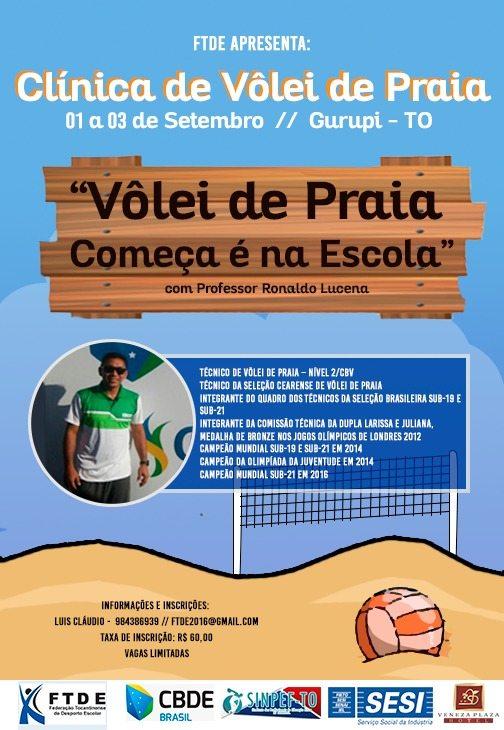Federação Tocantinense do Desporto Escolar realiza o curso de vôlei de areia escolar em Gurupi