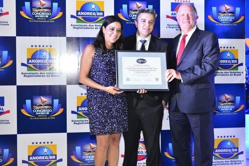 Cartório de Aliança ganha pela segunda vez prêmio nacional dos Cartórios Brasileiros