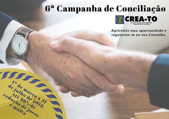 CREA-TO lança data para 6ª Campanha de Conciliação