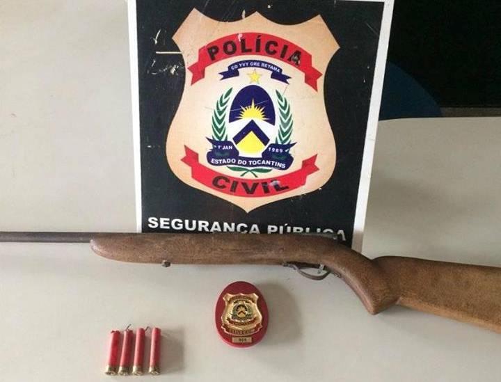 Polícia Civil de Araguacema prende em flagrante, suspeito de ameaçar crianças com arma de fogo