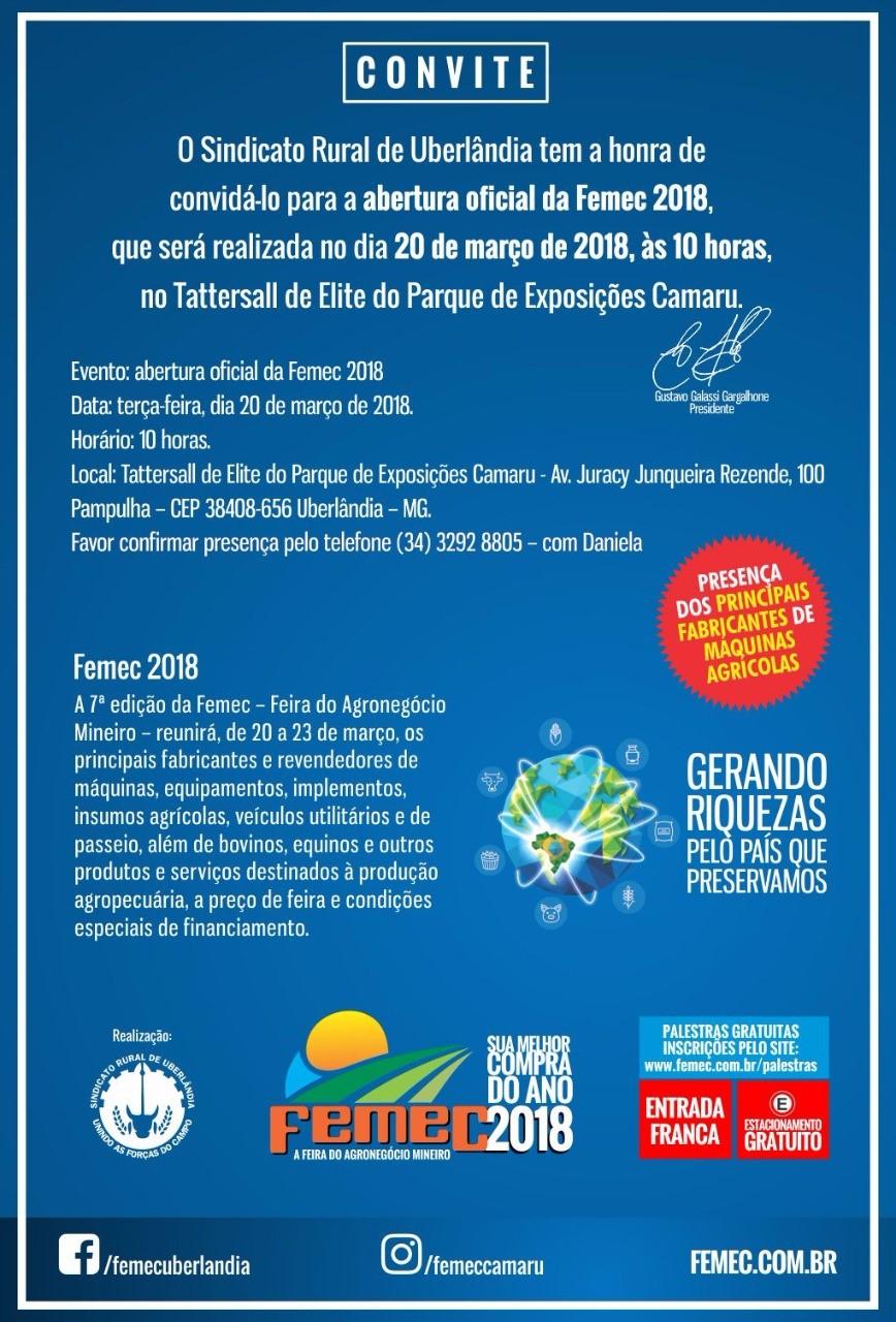 Cerimônia de abertura da Femec 2018 será nesta terça-feira, 20 de março, no parque Camaru em Uberlândia (MG)