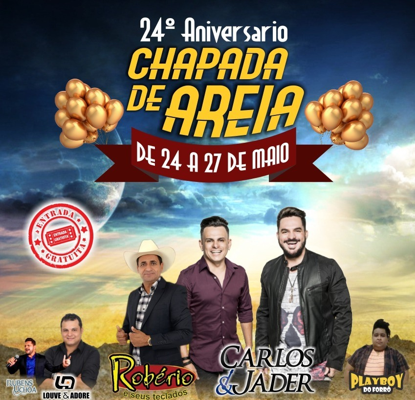 Prefeitura de Chapada de Areia antecipa pagamento do funcionalismo municipal e confirma show de Carlos & Jader no dia 26