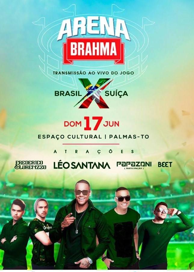 Arena Brahma recebe o cantor Léo Santana, no dia 17 de junho, em Palmas