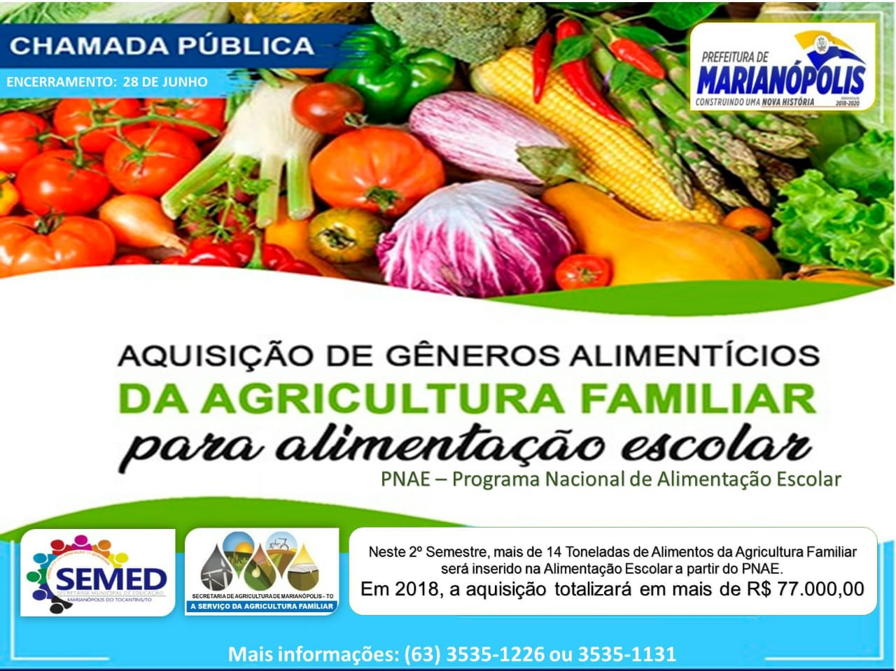 Prefeitura de Marianópolis abre Chamada Pública para compra de alimentos da Agricultura Familiar