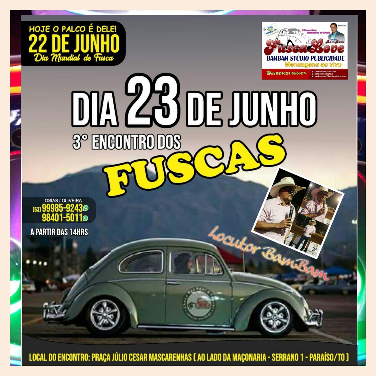 Paraíso do Tocantins promove 3º Encontro de Fuscas neste sábado (23)